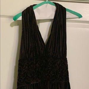 Brown velvet halter gown